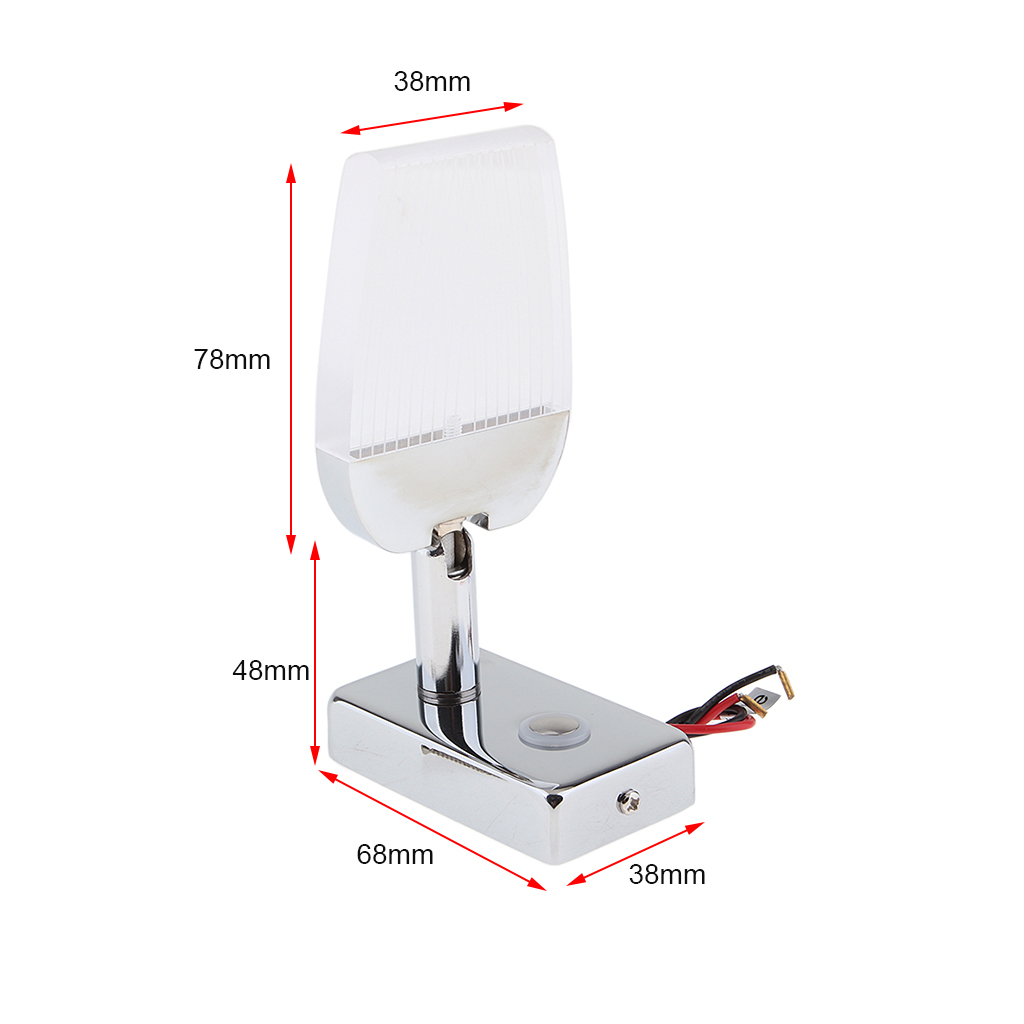 Genuine Marine Boat Yacht RV Touch Adjustment Switch 360 Degree Rotation LED Reading Light Wall Lamp 12/24V 3W USB Charging