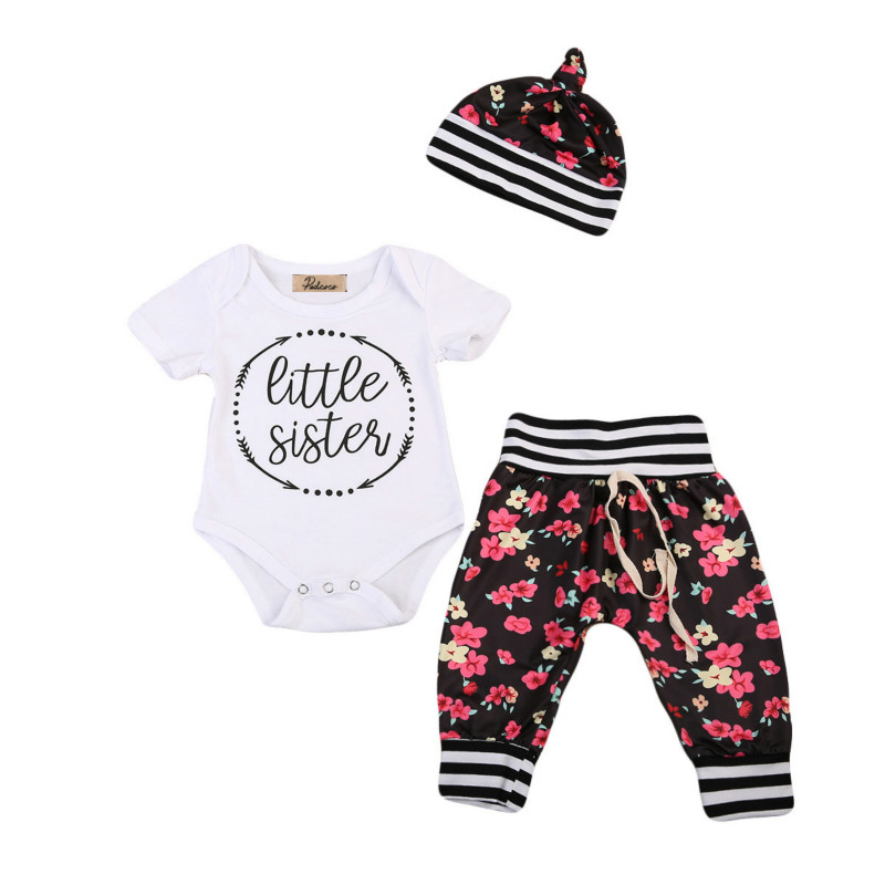Newborn Infant Baby Girl Clothes Kids Cotton Floral Outfits Set Letter Short Sleeve Romper+Hat+Pants Summer Clothing Sets 0-2Y