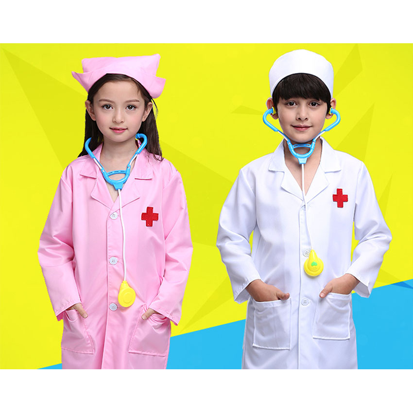 Doctor Halloween Party Kids Costumes Baby Girls Dress Nurse Cosplay Roleplay Suit Clothing for Kids Boys Doctors Children 2018