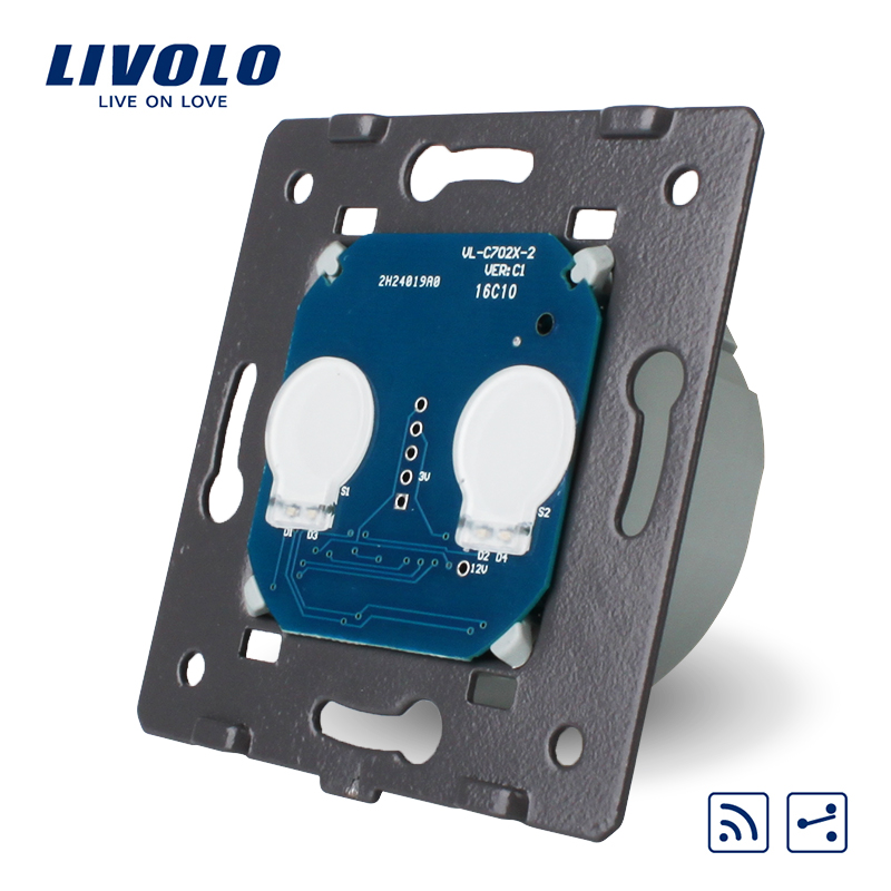 Livolo EU Standard, Touch Remote Switch Without Glass Panel, 2 Gangs 2 Way, AC 220~250V + LED Indicator, VL-C702SR livolo eu standard wall light remote touch switch ac 220 250v with black glass panel no remote controller vl c702r 12