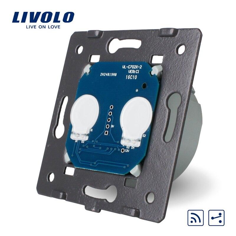 Norme Livolo EU, commutateur à distance tactile sans panneau de verre, 2 Gangs 2 voies, AC 220 ~ 250 V + indicateur LED, VL-C702SR