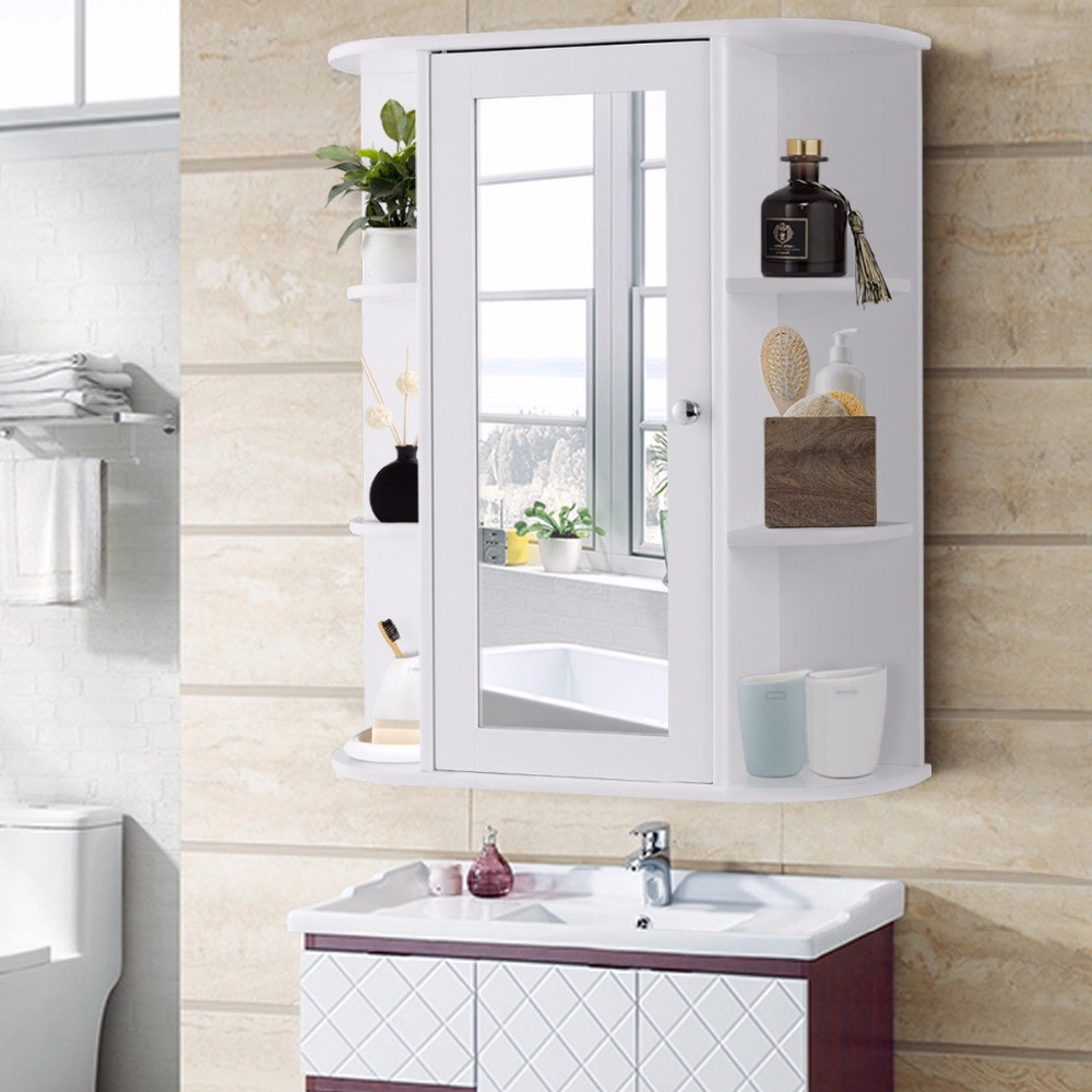 Giantex Bathroom Cabinet Single Door Shelves Wall Mount Cabinet W/ Mirror Organizer Modern Bathroom FurnitureHW58718 wall mounted bathroom cabinets