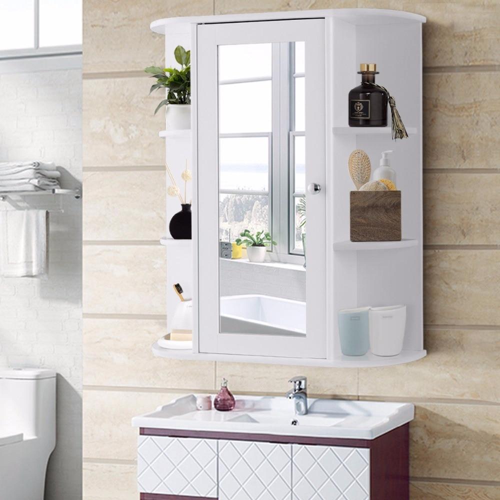 Giantex Bathroom Cabinet Single Door Shelves Wall Mount Cabinet W/ Mirror Organizer Modern Bathroom FurnitureHW58718