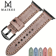 New design watch accessories vintage bridle leather watch strap for Apple watch band 42mm 38mm series 2&1 brown iwatch watchband new fabric watch strap watchband for applewatch series 1 2 38mm 42mm men women 2017 fresh green design watch band apb2548