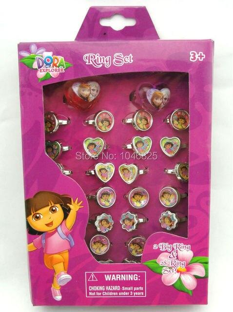 Hot 120 pcs4 box Cartoon Dora ring Cute Fancy Ring rings in Box