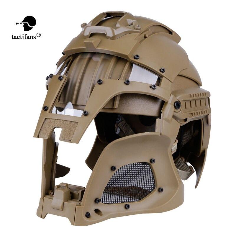 TACTIFANS tactique Paintball médiéval fer guerrier casque intégré Rail NVG linceul transfert Base cadran bouton Combat Airsoft