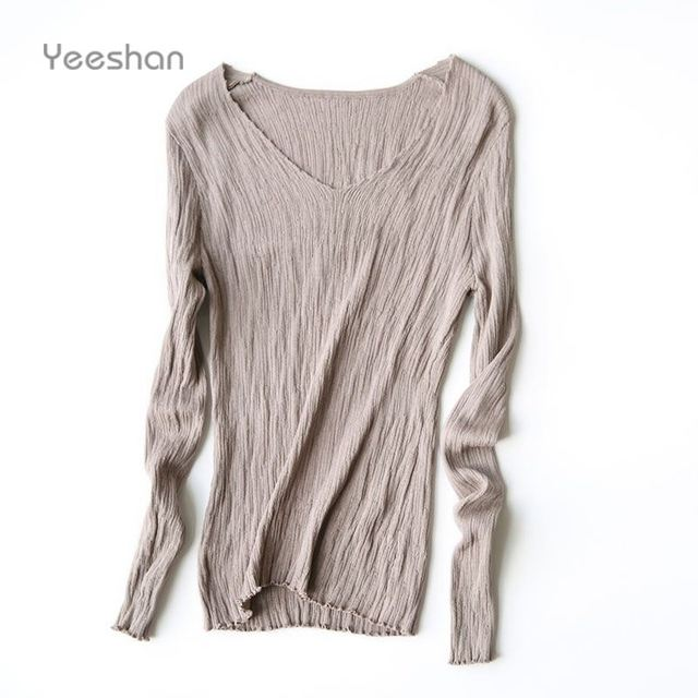 Yeeshan AutumnTencel Silk Sweater Underwear Winter Women Full Sleeves Women's Sweaters and Pullovers Female Sweaters