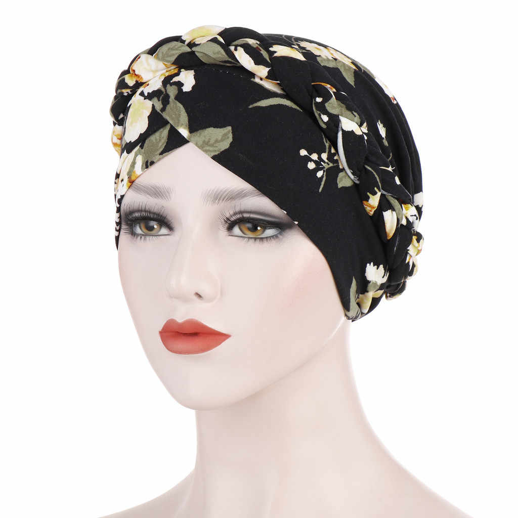 Women Floral Braid India Hat Muslim Ruffle Cancer Chemo Beanie Turban Wrap Cap