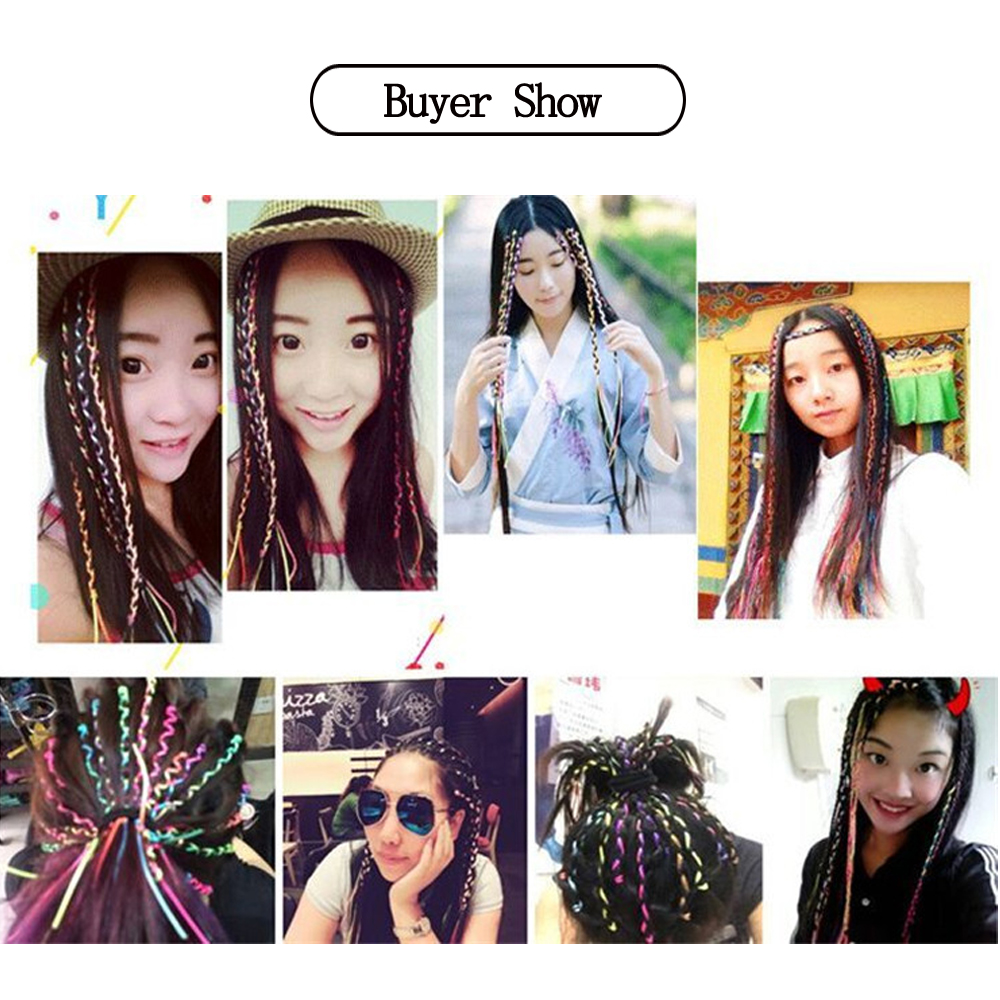 Fashion Shiny Color Braided Rope For Girls to Attend The Party Bling Headdress Accessories 1pcs lot in Braiders from Beauty Health