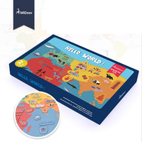 Hello World Map Magnetic Sticker Kit Refrigerator Paste Children Early Learning Puzzle Kid Educational Toy Christmas Gift