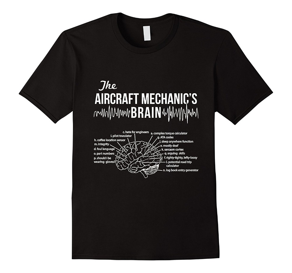 Cotton Men T-Shirts Classical 2019 Hip Hop Tshirt Streetwear Clothing Aircraft Mechanic'S Brain - Aircraft Mechanic Tee Shirt