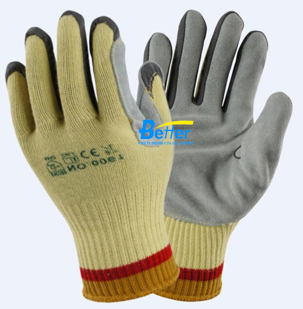 Aramid Fiber Safety Glove HPPE Split Cow Leather Palm Coated Cut Resistant Work Glove
