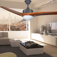 Vintage einfache decke fan 52 zoll LED lampe esszimmer wohnzimmer Westlichen 3 ABS baldes schlafzimmer silent lüfter licht mit controler