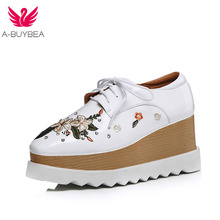 A-BUYBEA Size 34-43 New Fashion Platform Heels Women Shoes Silk Embroidery Lace-Up Real Leather Casual Oxfords