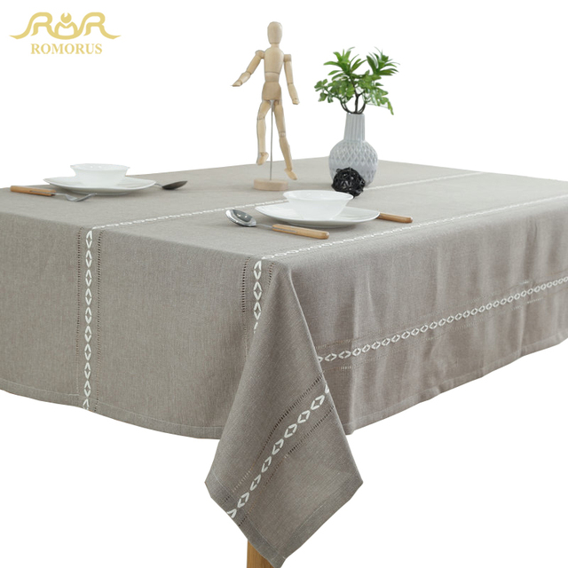 ROMORUS Modern Solid Color Cotton Table Cloth Grey Beige Blue Tablecloth  For Rectangle Table Dustproof Decorative