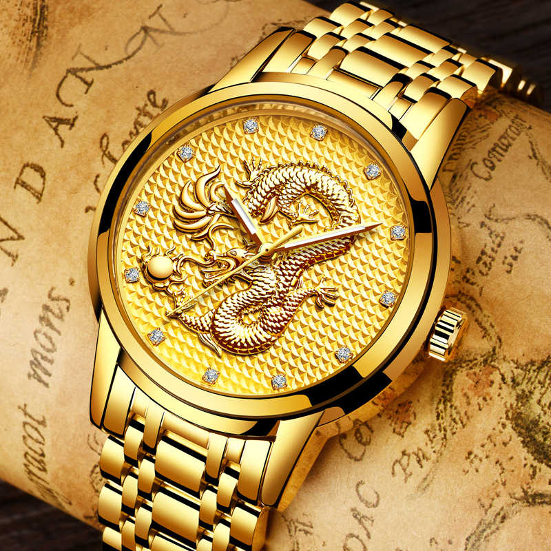 2020 LIGE moda erkek saatler Top marka lüks altın ejderha heykel Quartz saat erkekler tam çelik kol saati Relogio Masculino