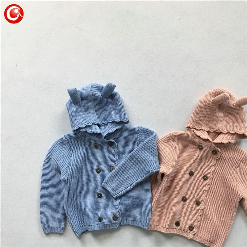 2016 AutumnWinter Kids Girls Hooded Cardigan Double Breasted Cotton Sweater For Children Boy Baby Girl Soft Knit Jumper Clothes (9)