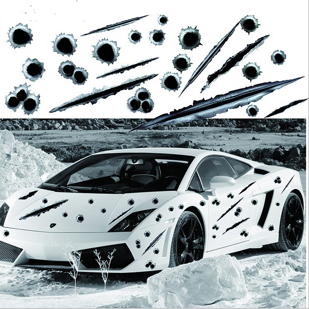 купить 3D Bullet Hole Car Sticker and Decal Auto Motorcycle Decal Cool Graphics Decoration Sticker Car Styling Car-covers Accessories недорого