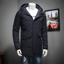 big size 8XL 7XL 6XL Mens 2017 New Winter Parkas Mid -Long Smooth Metal Zipper Stand Collar Simple Handsome Winter Jacket Men