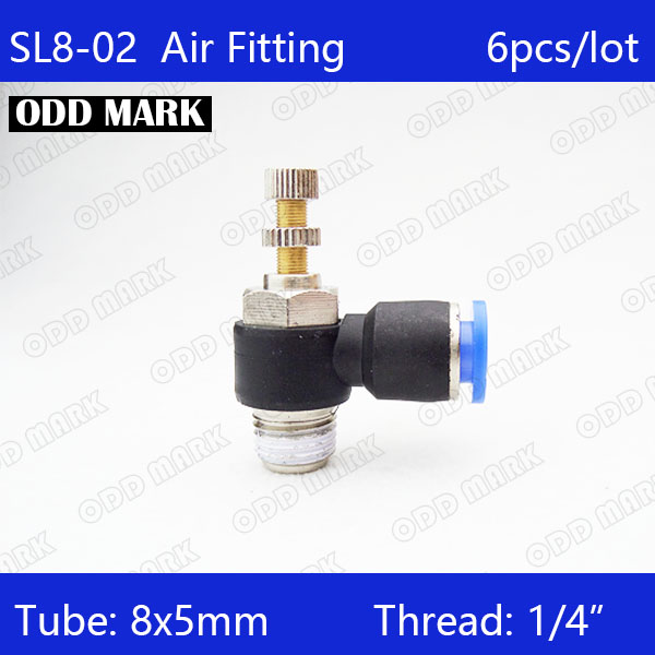 Free shipping 6Pcs 8mm Push In to Connect Fitting 1/4 Thread Speed Flow Controller Air Valve SL8-02 13mm male thread pressure relief valve for air compressor