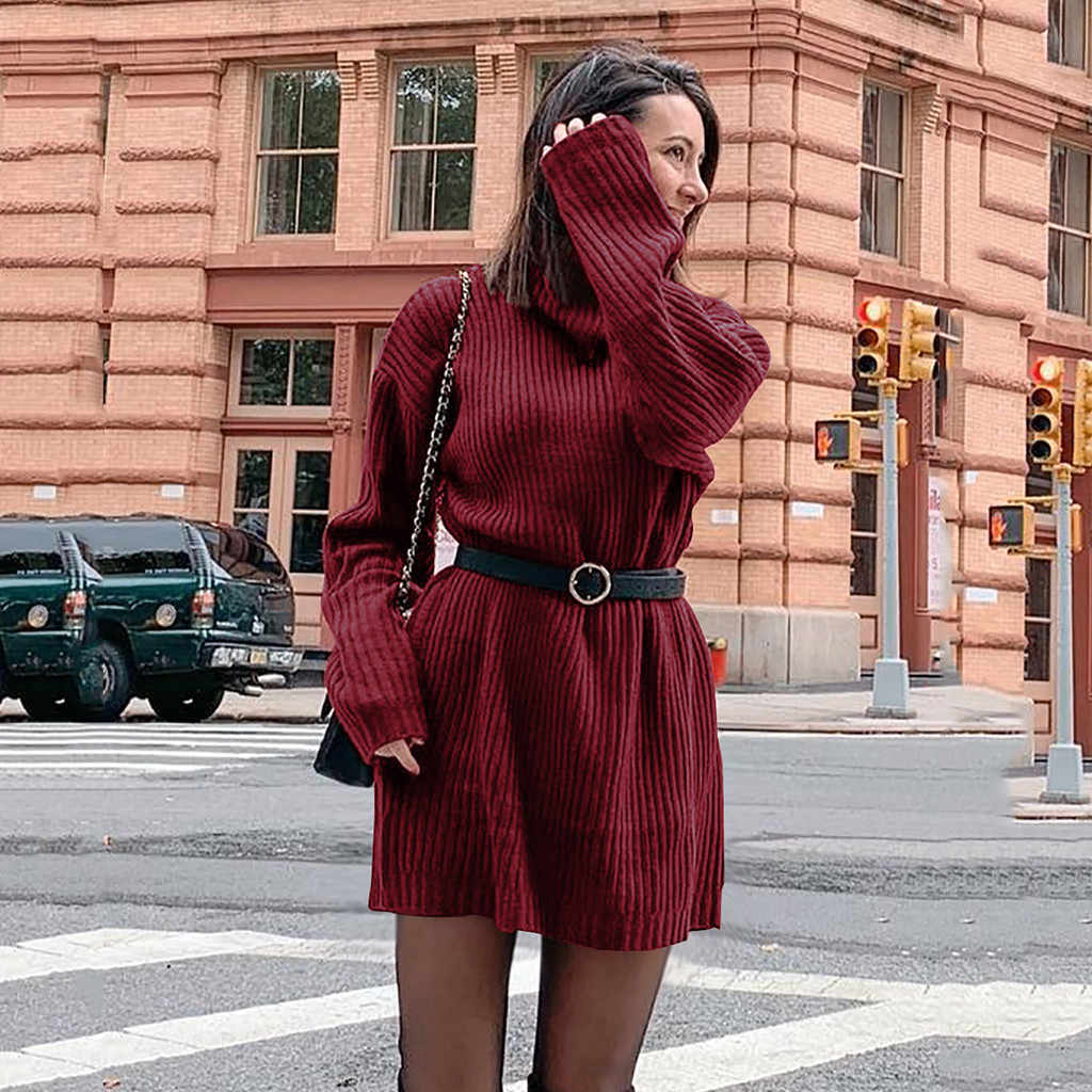 Winter Women Sweaters Solid Mini Dress Casual Jumper Long Sleeve Turtleneck Sweaters Dress Holiday Party Elegant Dress Vestido