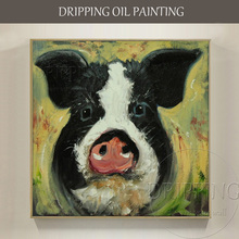 Skilled Artist Hand-painted Wall Decor Pig Head Oil Painting on Canvas Large Face for Kitchen Decoration