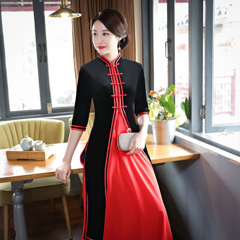 Novelty Fashion Women's Long Cheongsam Top Selling Chinese