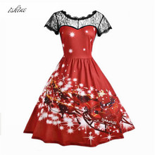 Christmas Carriage Snowman Printed Vintage Dress Women 2017 Red Christmas Party Dress Fashion Christmas Snowflake Dress Vestidos