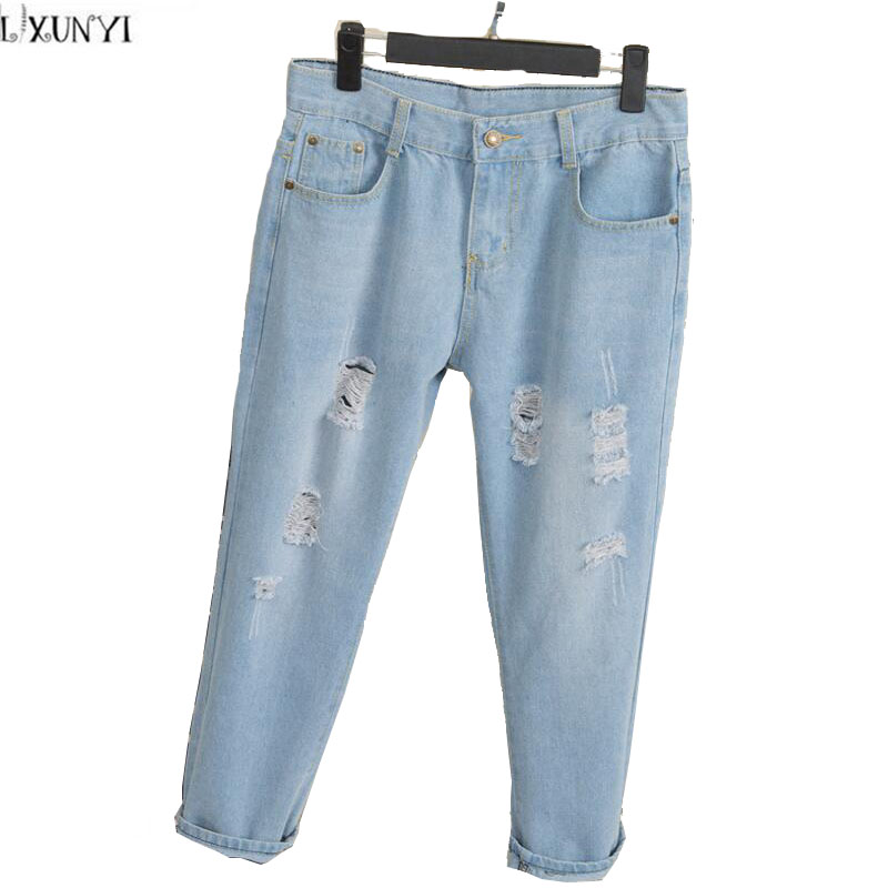 New 2017 Women Loose jeans Spring Ankle Length Pants Hole Ripped High Waist Jeans Femme Plus Size Straight Denim Trousers Cheap loose ankle length jeans for women 2017 new vintage distressed high waist ripped denim harem pants woman trousers plus size