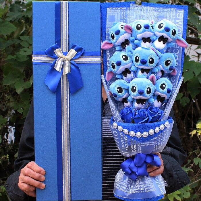 9 스타일 kawaii lilo 스티치 비누 꽃 플러시 장난감 애니메이션 lilo 및 stich 부드러운 인형 동물 인형 로맨틱 발렌타인 선물 상자 없음