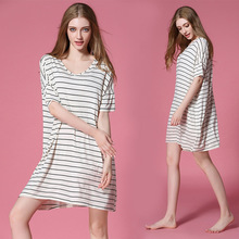 Saudi Arabia Ladies Loose Nightdress Women Nightgowns Soft Modal Striped Sleepwear Dress Home Nightwear Short Sleeve