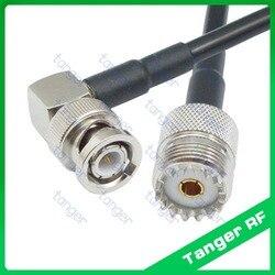 Gorący sprzedawanie Tanger BNC męski wtyk kątowy do gniazda żeńskiego UHF SO239 SL16 RF RG58 Pigtail Jumper kabel koncentryczny 40 cal 100 cm nowy