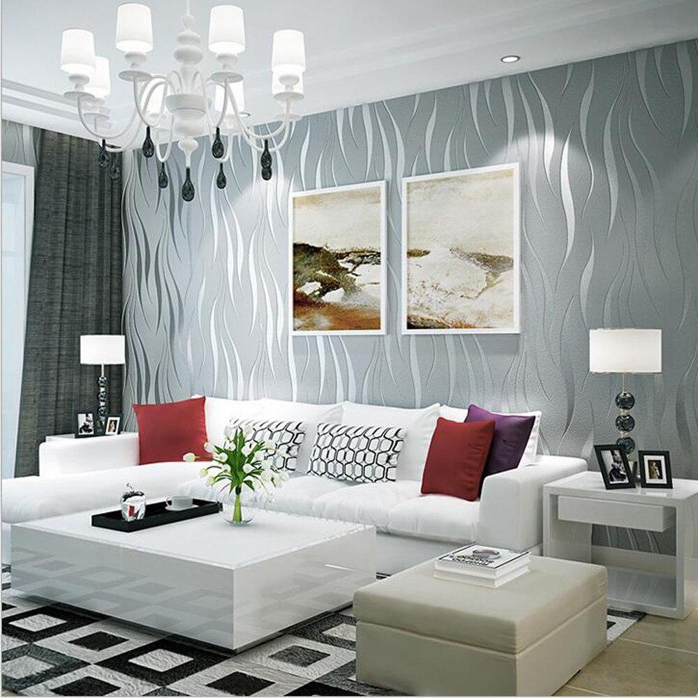 Livraison directe argent 3D Non-tissé vague rayure en relief papier peint rouleaux salon décor 10 m