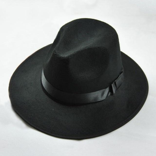 Vintage Men Women Hard Felt Hat Wide Brim Fedora Hat Gangster Cap ... 3fbbb698083a