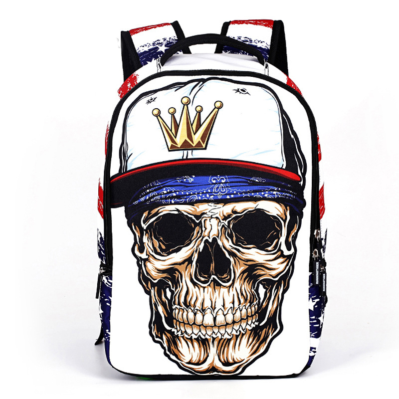 Creative 3d Skull Laptop Backpack For Men Punk Rock Printing School Backpack Casual School Bags For Boys