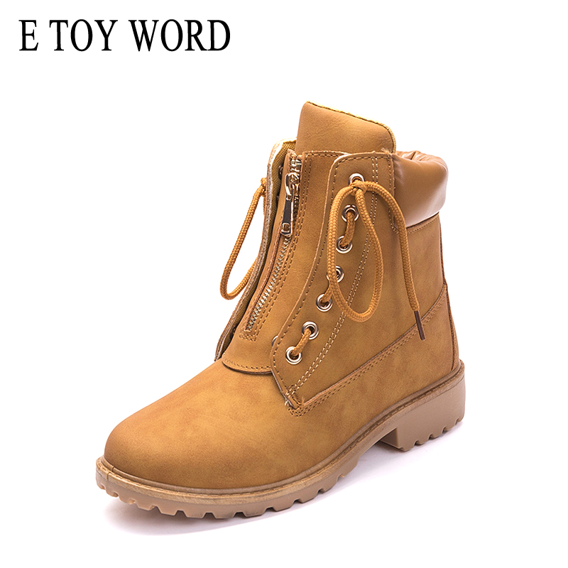 E TOY WORD 2018 new women winter boots Martin boots Round toe shoes warm snow boots fashion platform shoes women ankle boots best selling top quality women hidden wedge winter warm snow boots plush inside platform round toe motorcycle boots shoes