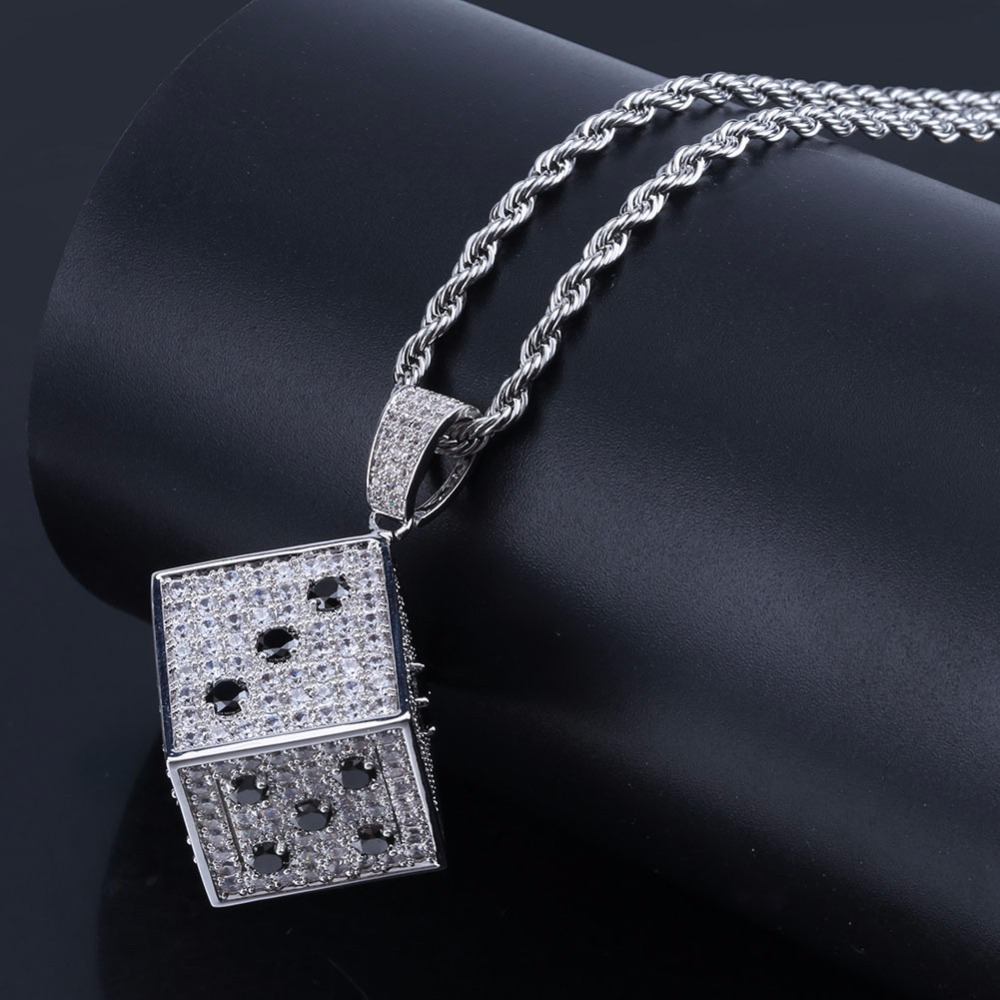 US $23 66 40% OFF|Full AAA+ Zircon Bling Ice Out Cartoon Lucky Dice Pendant  Necklaces Gold Color Copper Men's Hip Hop Rapper Jewelry Drop Shipping-in