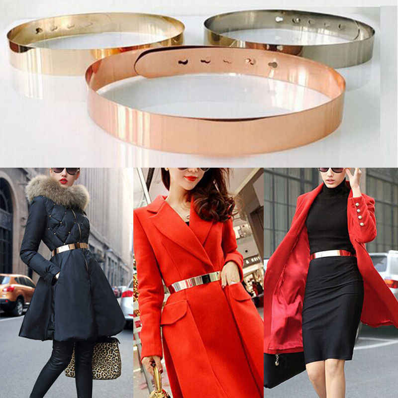 Fashion Women Adjustable Fashion Full Metal Waist Belt Wide Bling Gold Silver Waistband Vintage Lady Simple Belts