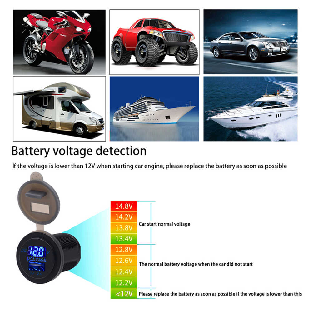 USB Car port Socket Waterproof Power Outlet 5V 2.1A Digital Marine Charger Adapter for 12V-24V Car Motorcycle Boat