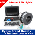 "Eyoyo 80m Professional Underwater Ice Fishing Camera Night Vision Fish Finder 7"" Monitor 1000TVL HD CAM 12pcs Infrared LED"