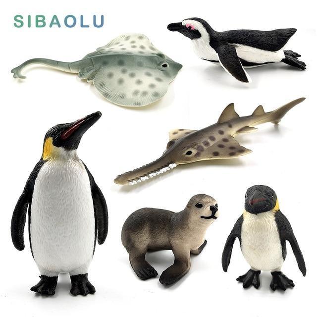 Sea fish Penguin Sea Lion Fish Skate Sawfish figurine animals model PVC home decor miniature fairy garden decoration accessories 1