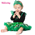 Flower Green Toddler Baby Girls Clothes Set Lace Sleeveless Rompers halloween Party Birthday Custom Cosplay Anna Dress Princess