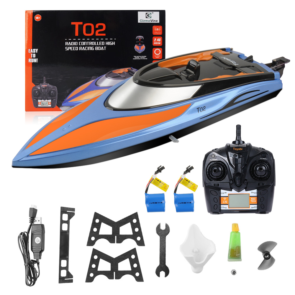 High Speed RC Boat T02 2.4GHz 4 Channel 30km/h Racing Remote Control Boat with LCD Screen as gift For children Toys Kids Gift brand new rc boat 2 4ghz 4 channel high speed racing remote control boat with lcd screen