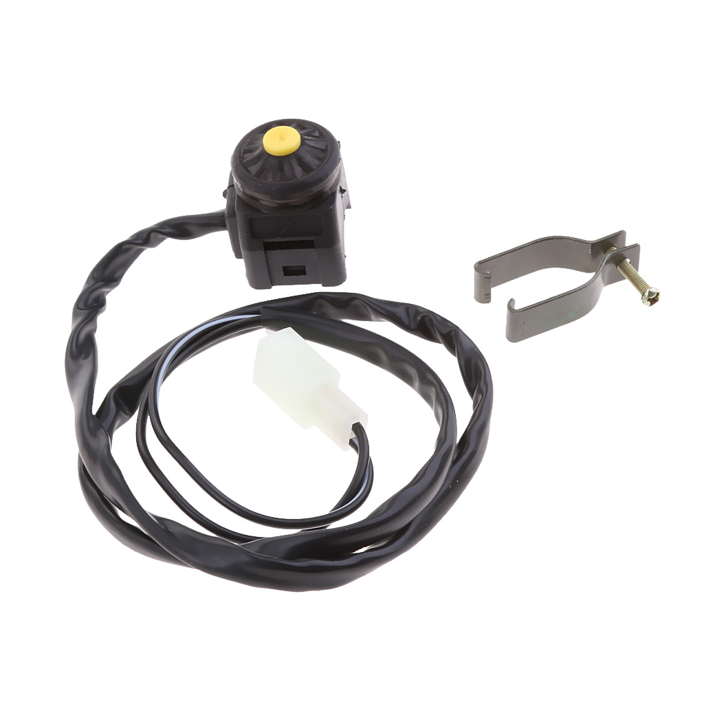 ATV Motorcycle Dual Sport Dirt Bike Start Horn Kill Switch Yellow Button Universal Kill Start Horn On Off Switch