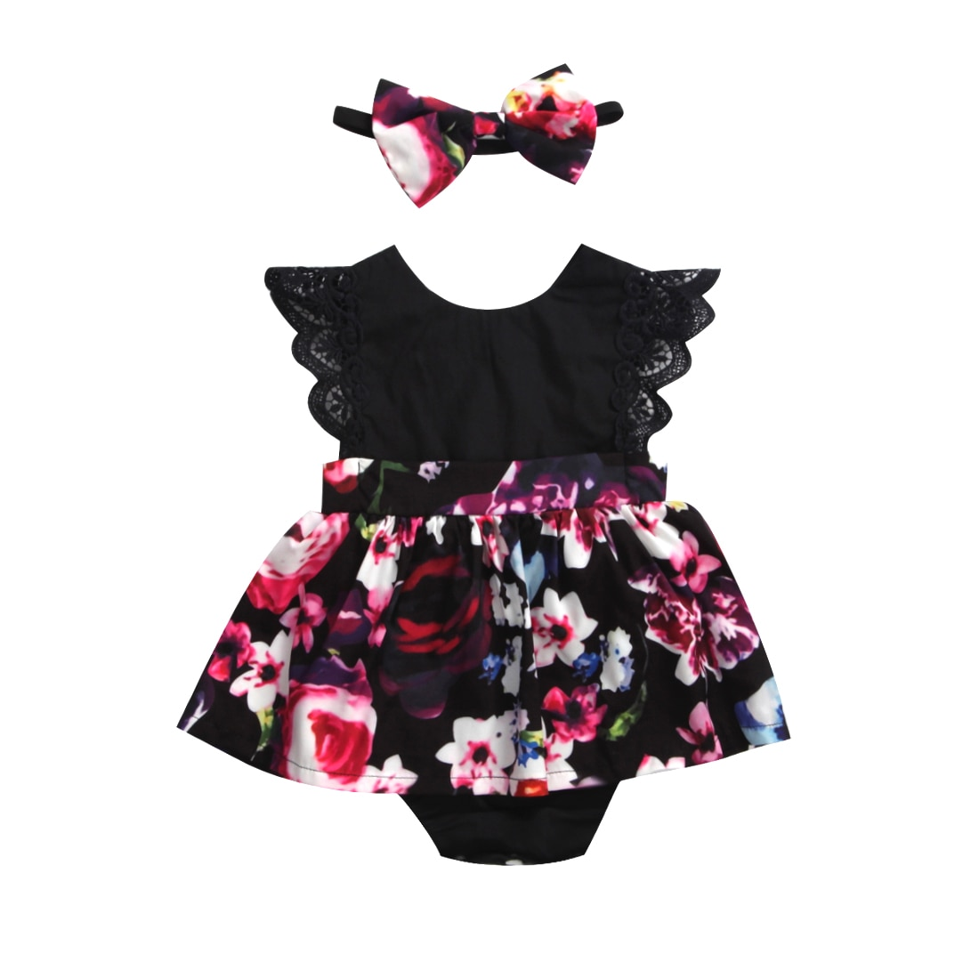 2019 FOCUSNORM Newborn Baby Infant Girl Romper Tutu Dress Headband Floral Outfits Party Dress