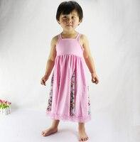 2016 Real Mid-calf Cotton Lace Sleeveless Girls Children Casual Dresses Summer Kids Halter Dress Style Brand New Beach Girl 003