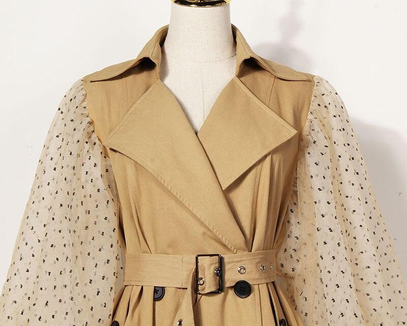 [EAM] 19 New Spring Lapel Long Puff Sleeve Sashes Dot Mesh Stitching Loose Long Windbreaker Women Coat Fashion JH394 6