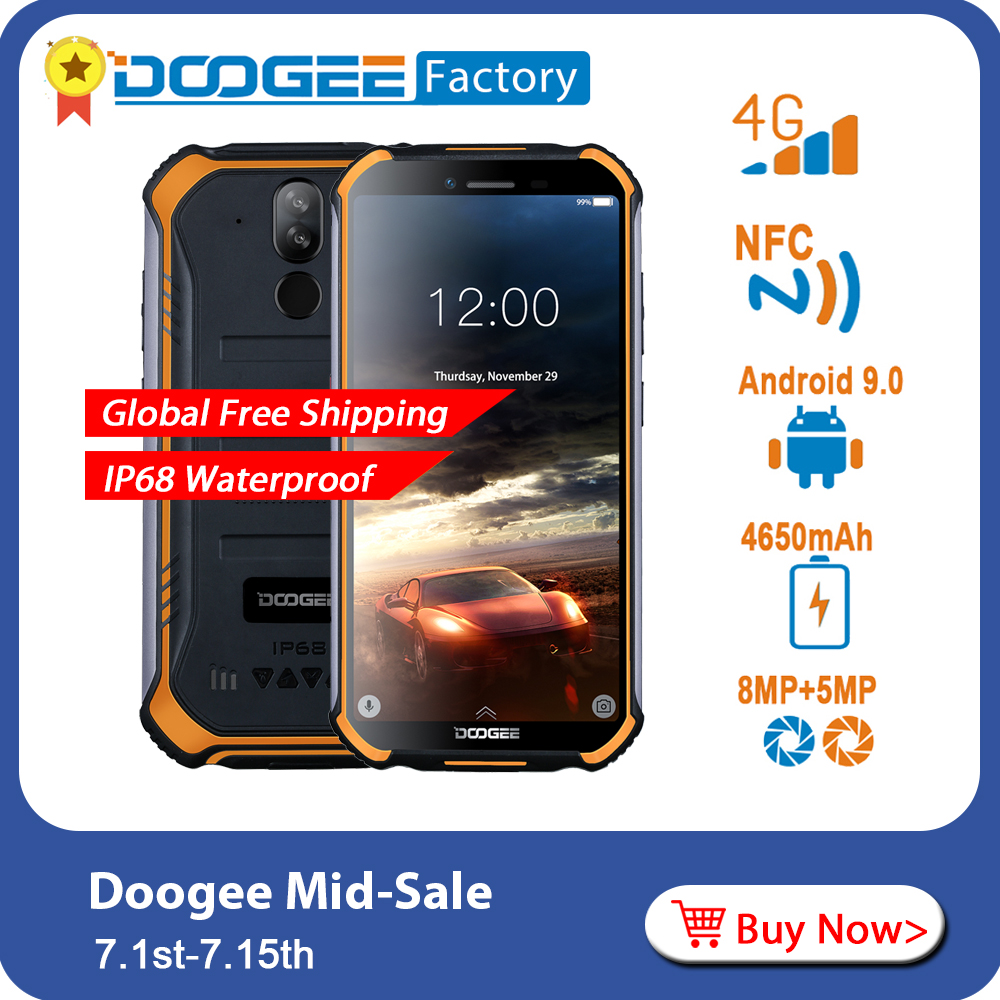 DOOGEE S40 Rugged Android 9 0 Mobile Phone 5 5 inch Display 4650mAh MT6739 Quad Core