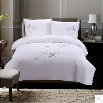 Cotton embroidery four-piece cotton bedding twill quilt embroidery