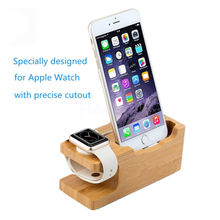 2-in-1 Wood Holder Desktop Stand for iPad Tablet Bracket Docking Holder Charger for iPhone Charging Dock for Apple Watch(China)